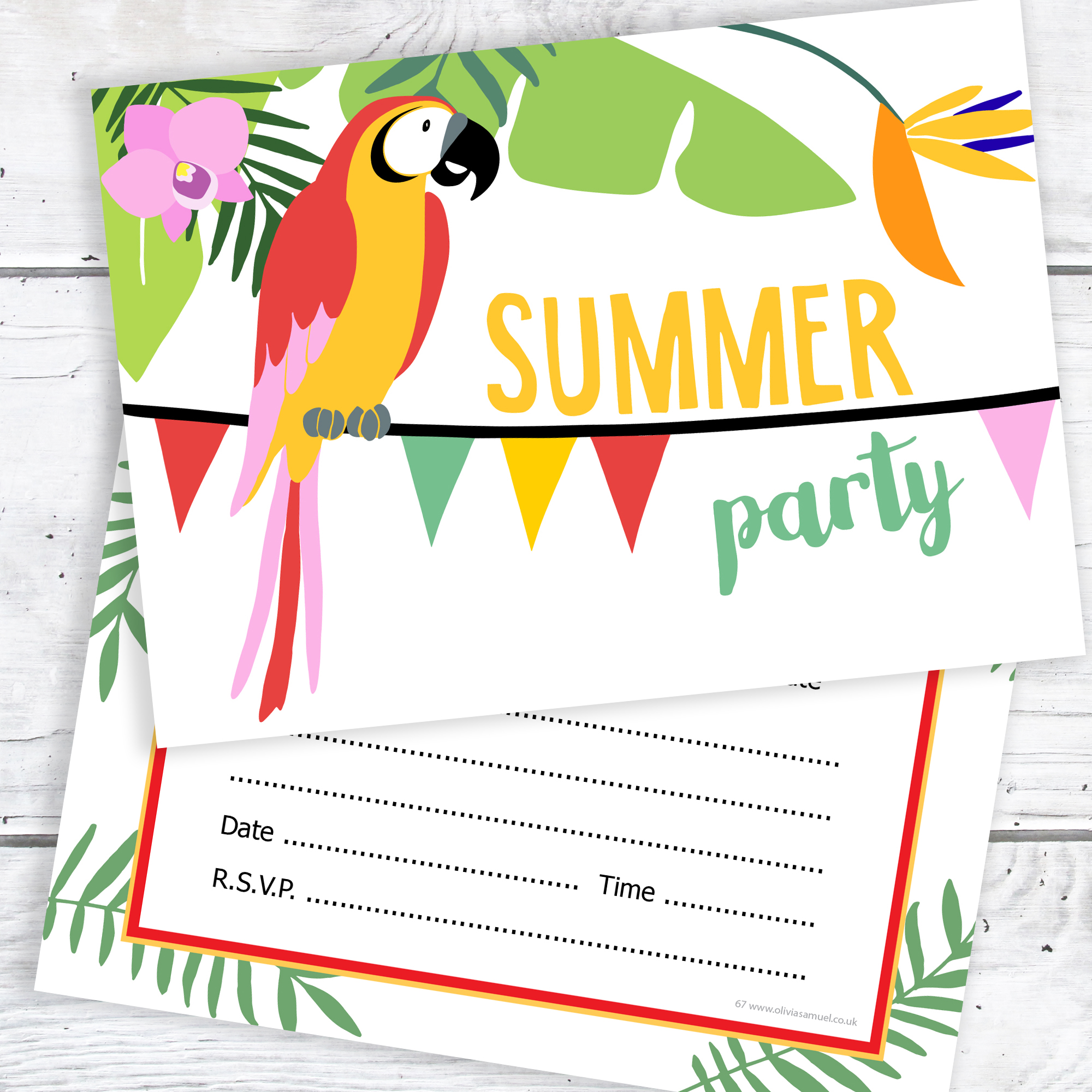 summer party invitations tropical party ready to write invites