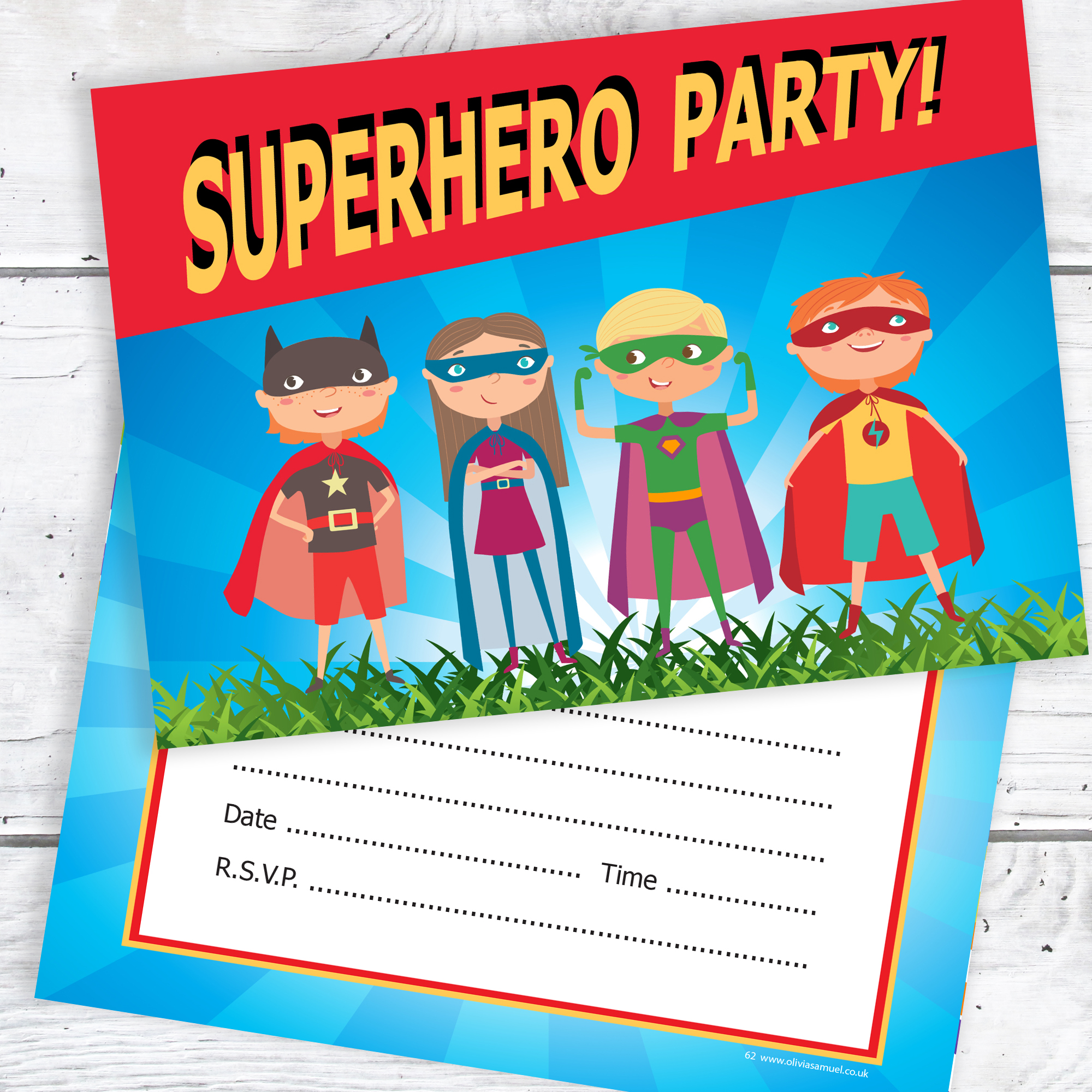 Superhero Party Invitations – Kids Super Hero Birthday Invites – A6 ...