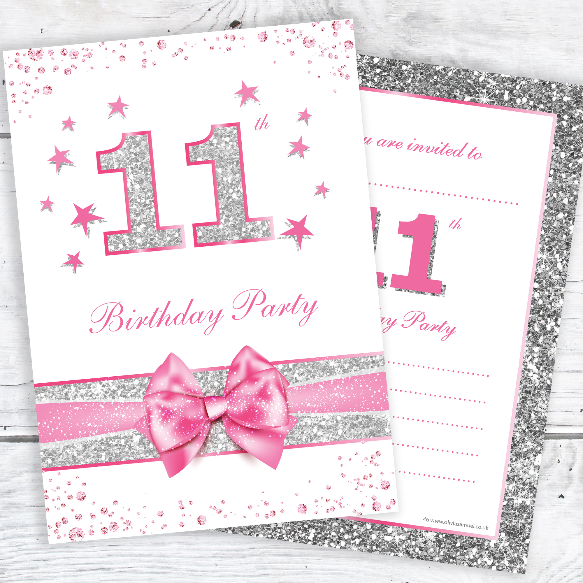 11th Birthday Party Invitations Pink Sparkly Design And Photo Effect Silver Glitter A6 Postcard Size With Envelopes Pack Of 10