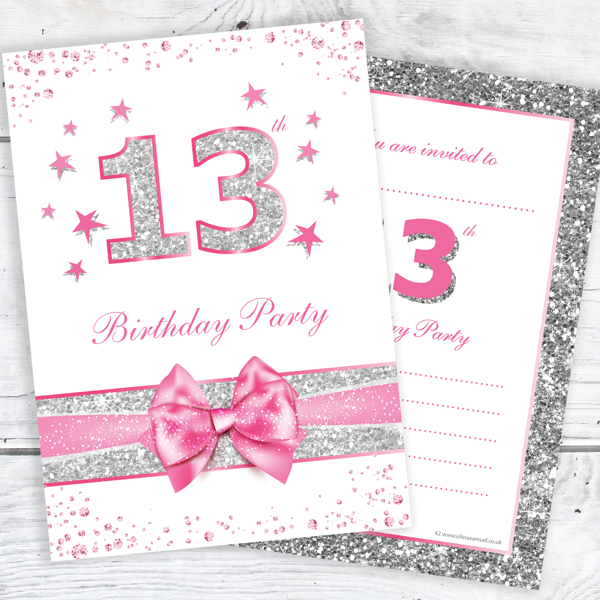 13th Birthday Party Invitations Pink Sparkly Design And Photo Effect Silver Glitter A6 Postcard Size With Envelopes Pack Of 10