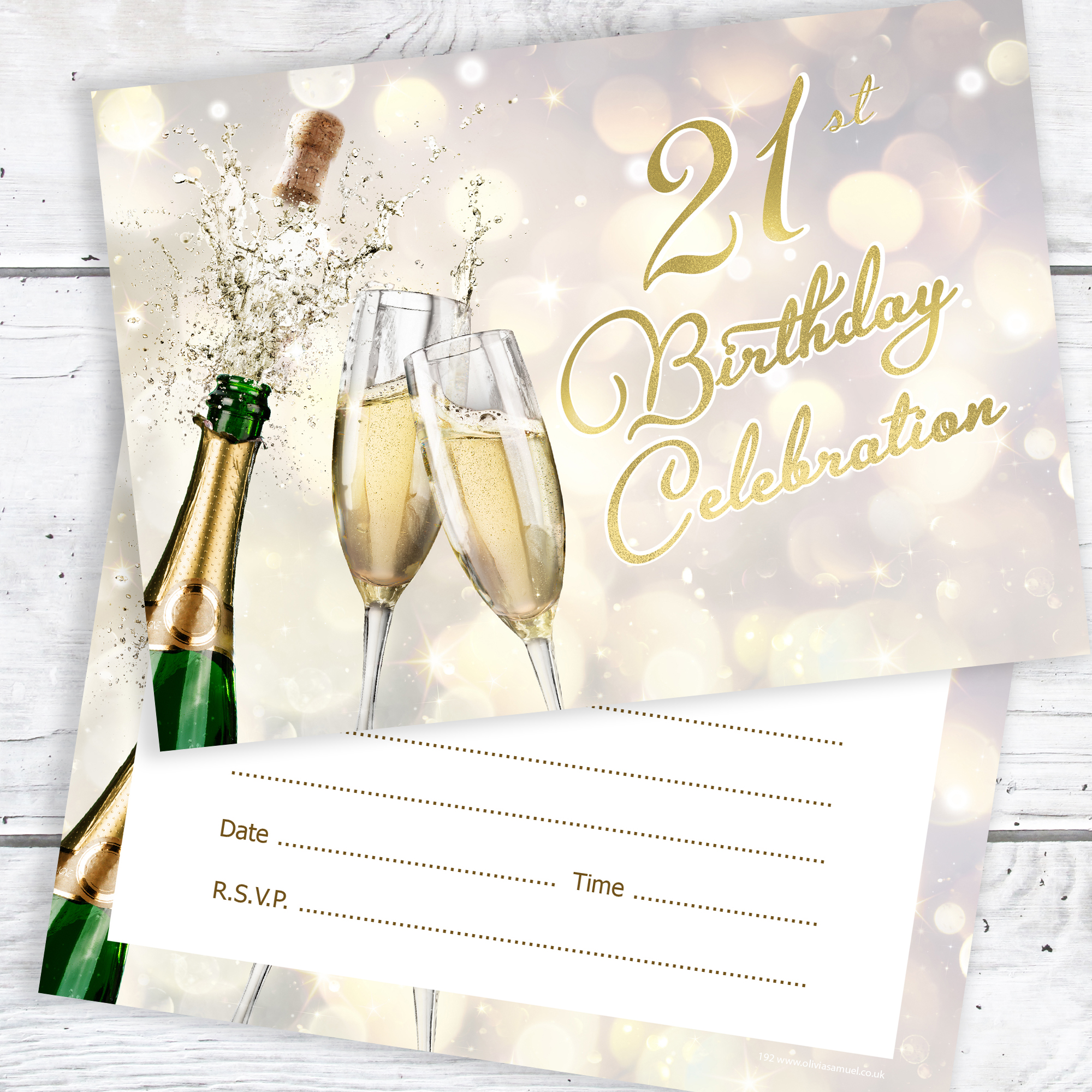 21st Birthday Party Invitations Champagne Style Ready To Write With Envelopes Pack 10