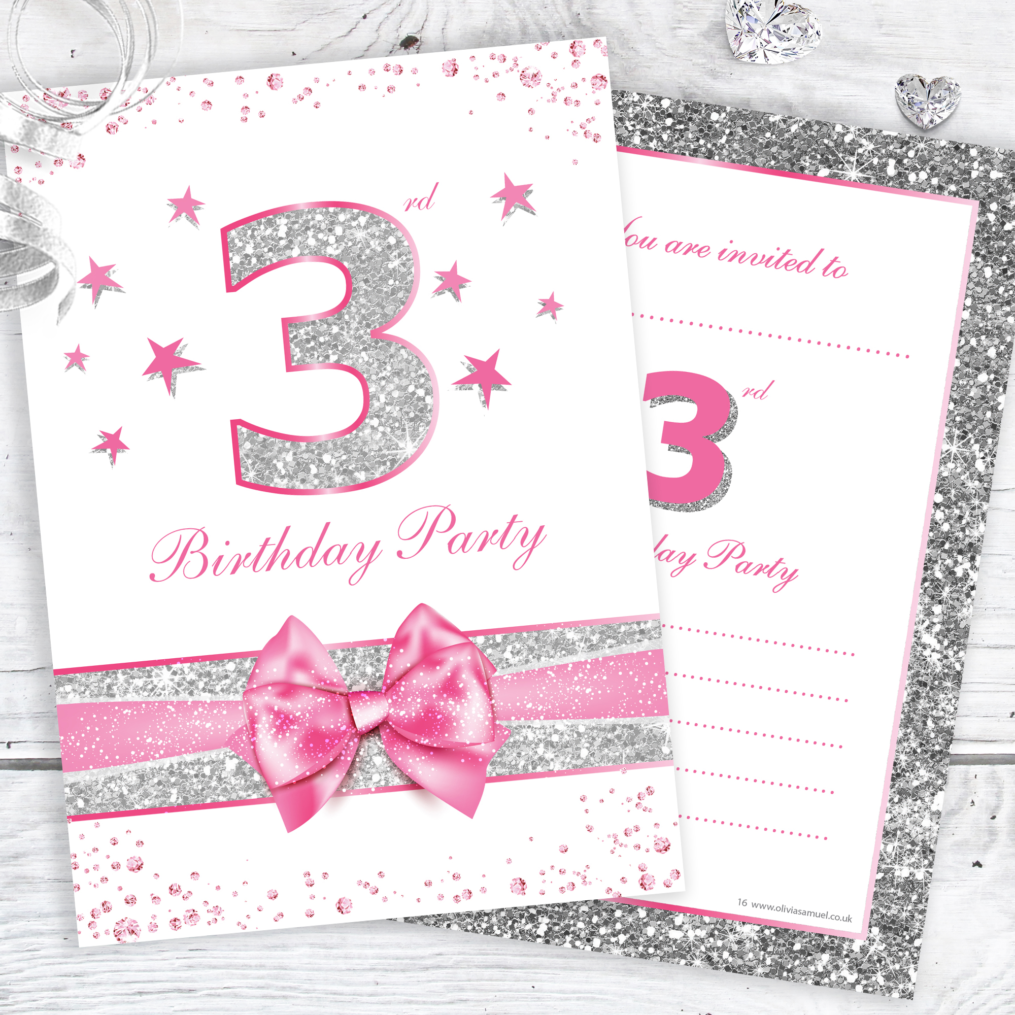 3rd Birthday Party Invitations Pink Sparkly Design And Photo Effect Silver Glitter A6 Postcard Size With Envelopes Pack Of 10