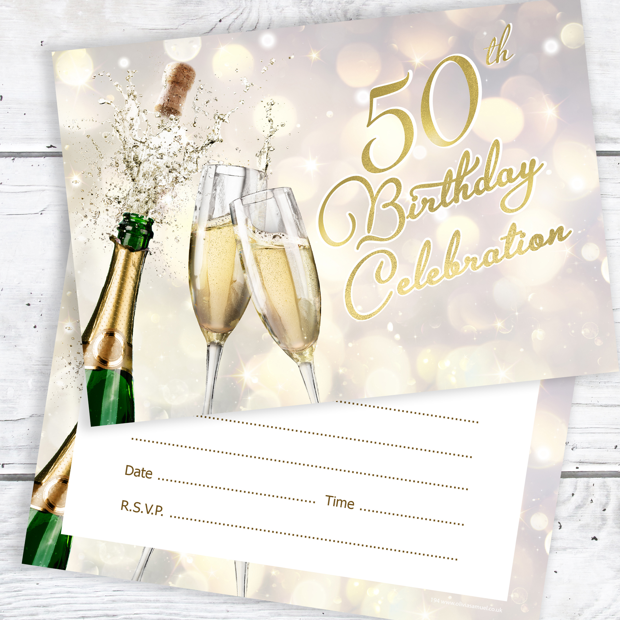 50th Birthday Celebration Invites Champagne Style Ready To Write With Envelopes Pack 10
