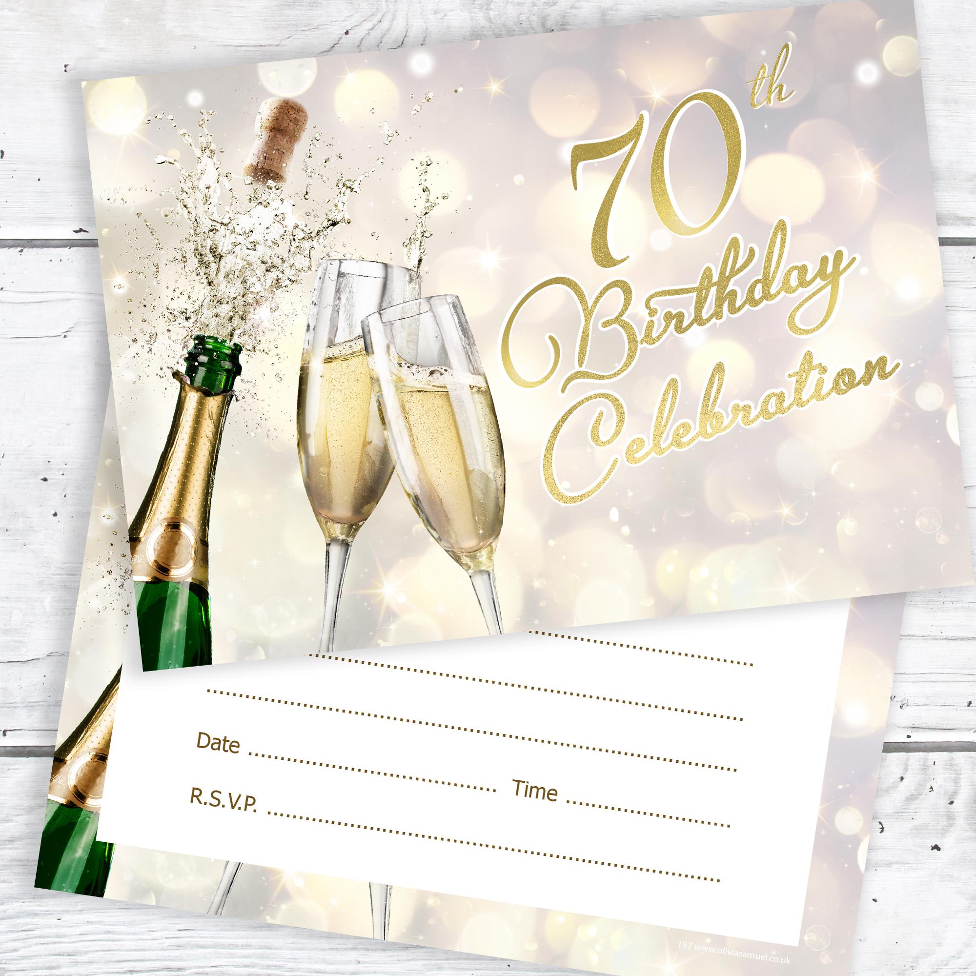 70th Birthday Invitations Champagne Style
