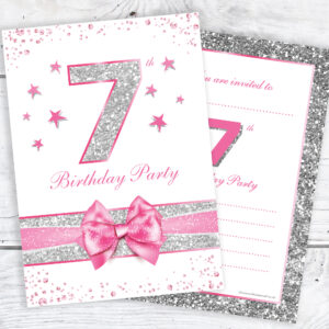 7th_Birthday_Pink_Silver_Girls_Birthday_Invitations_RTW0039