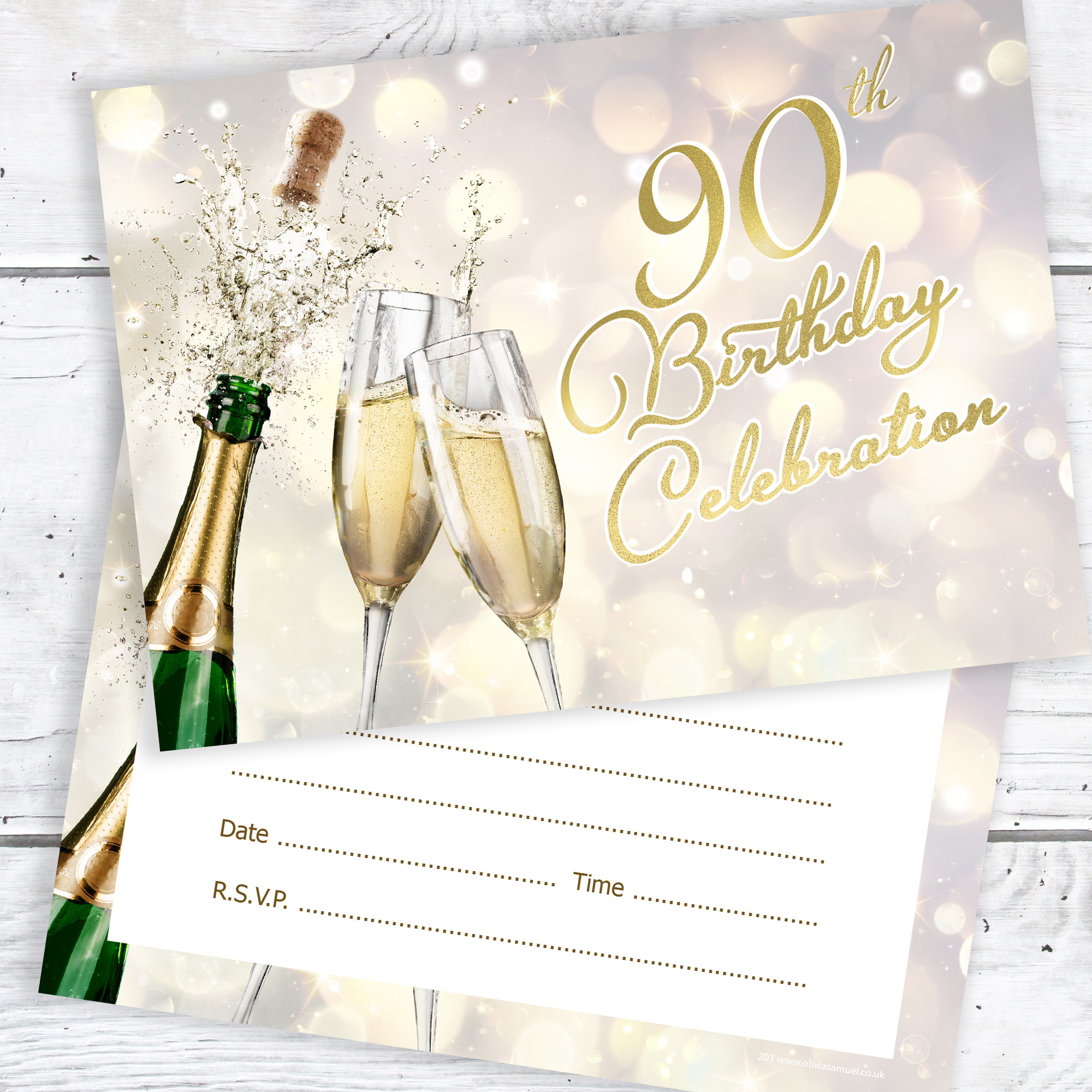 90th Birthday Celebration Invites Champagne Style Ready To Write With Envelopes Pack 10