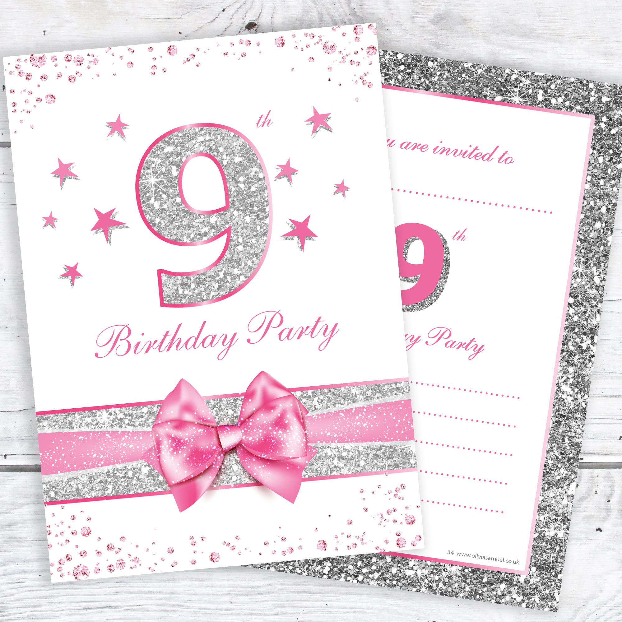 9th Birthday Party Invitations Pink Sparkly Design And Photo Effect Silver Glitter A6 Postcard Size With Envelopes Pack Of 10