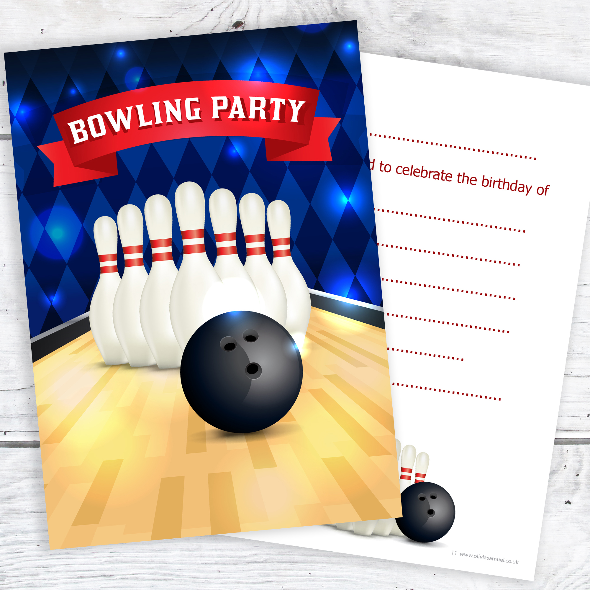 Bowling Party Birthday Invitations – Kids Ten Pin Party Invites – A6 ...