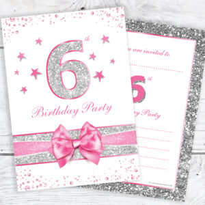 Girls 6th Birthday Party Invitations RTW0036