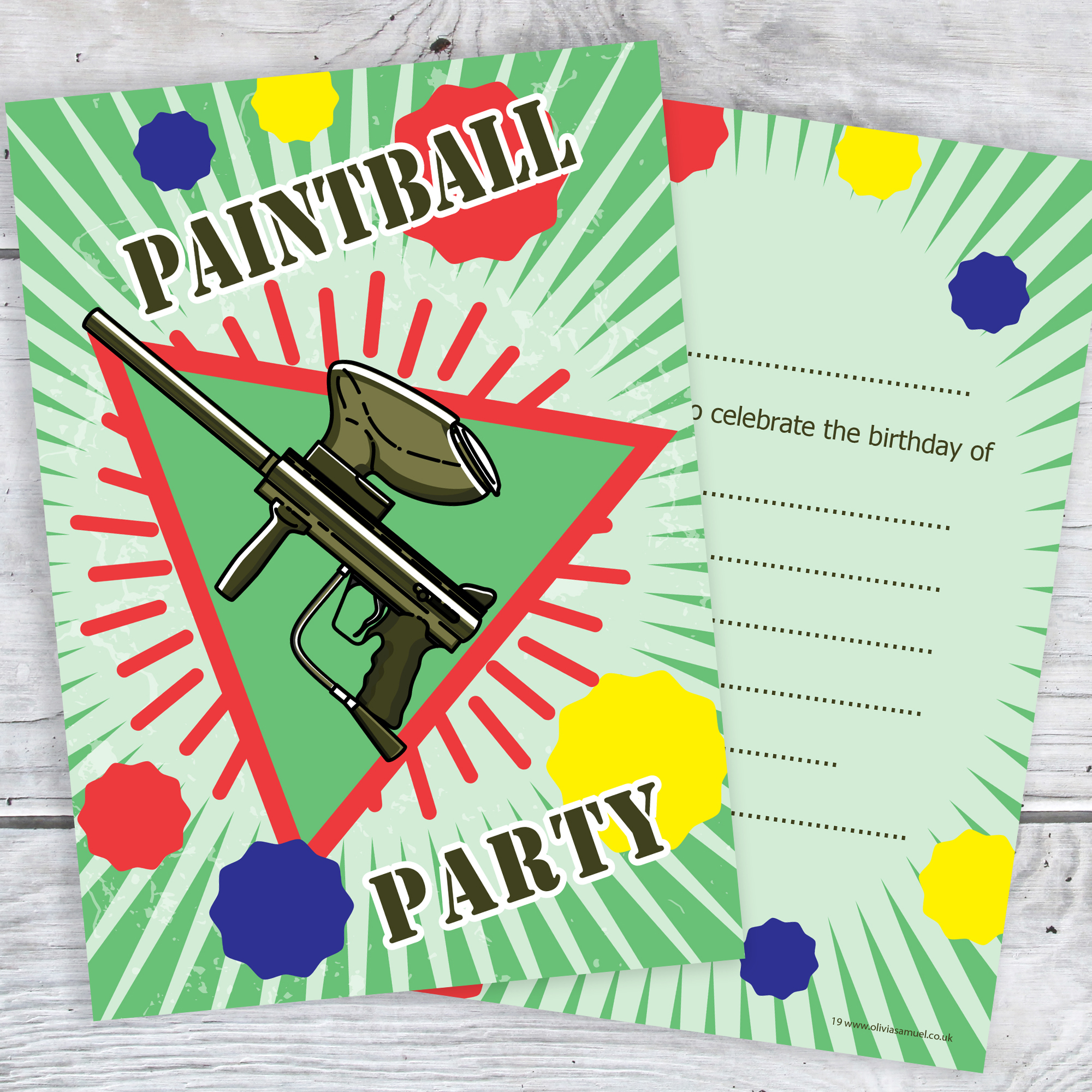 Paintball Party Invitations Birthday Invites A6 Postcard Size With Envelopes Pack Of 10