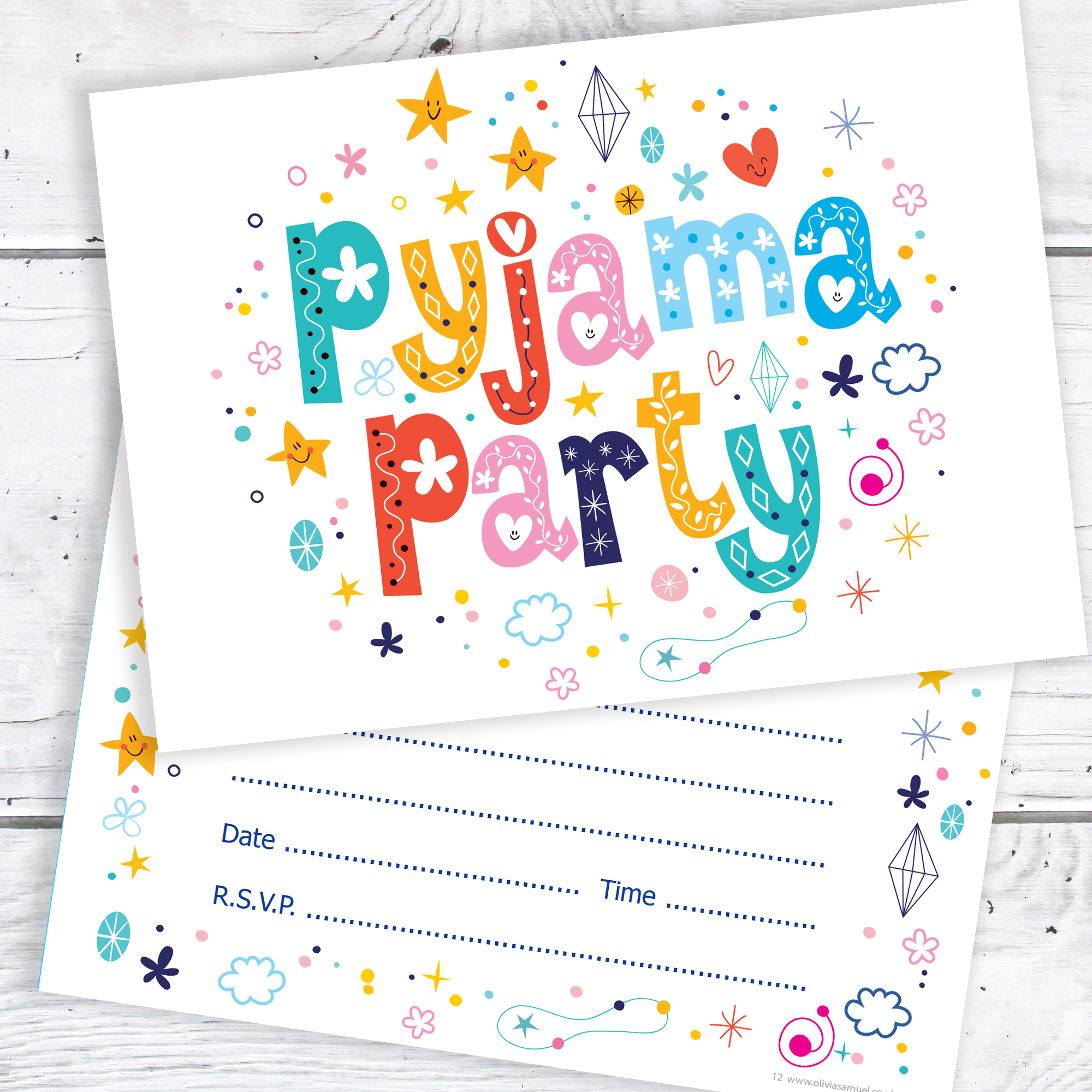 Pyjama Party Birthday Invitations A6 Postcard Size With Envelopes Pack Of 10 Childrens Invitation Kids Invite RTW0013
