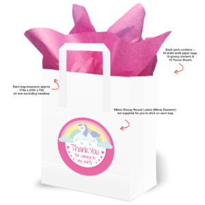 Pink Rainbow Unicorn Party Bags with text