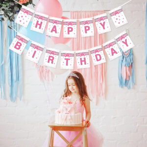 Pink and Silver Effect Happy Birthday Banner BNR0209