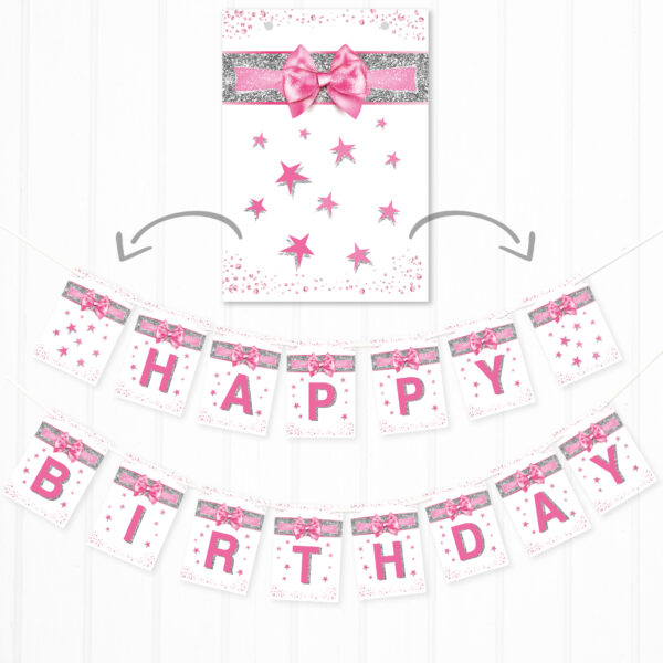 Pink and Silver Effect Happy Birthday Banner Bunting