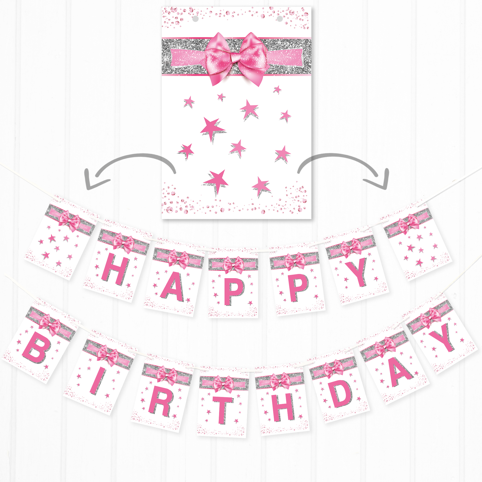 pretty happy birthday banner pink and silver effect bunting for