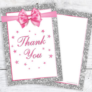 Pink and Silver Glitter Effect Thank You Cards Pack 10
