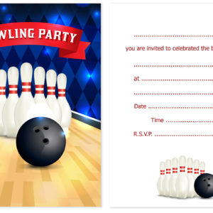 bowling party birthday invitations kids ten pin party invites a6
