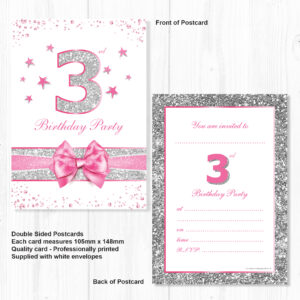 3rd Birthday Party Invitations Pink Sparkly Design And Photo Effect Silver Glitter A6 Postcard Size With Envelopes Pack Of 10 Olivia Samuel