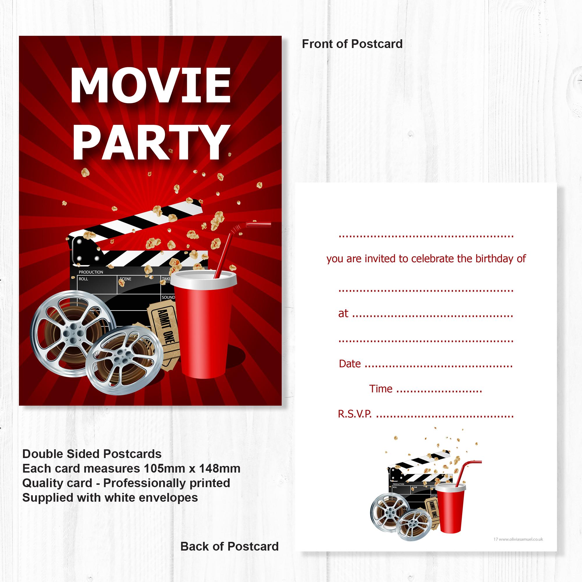 Movie Party Invitations – Kids Cinema Party Invites – A6 Postcard ...