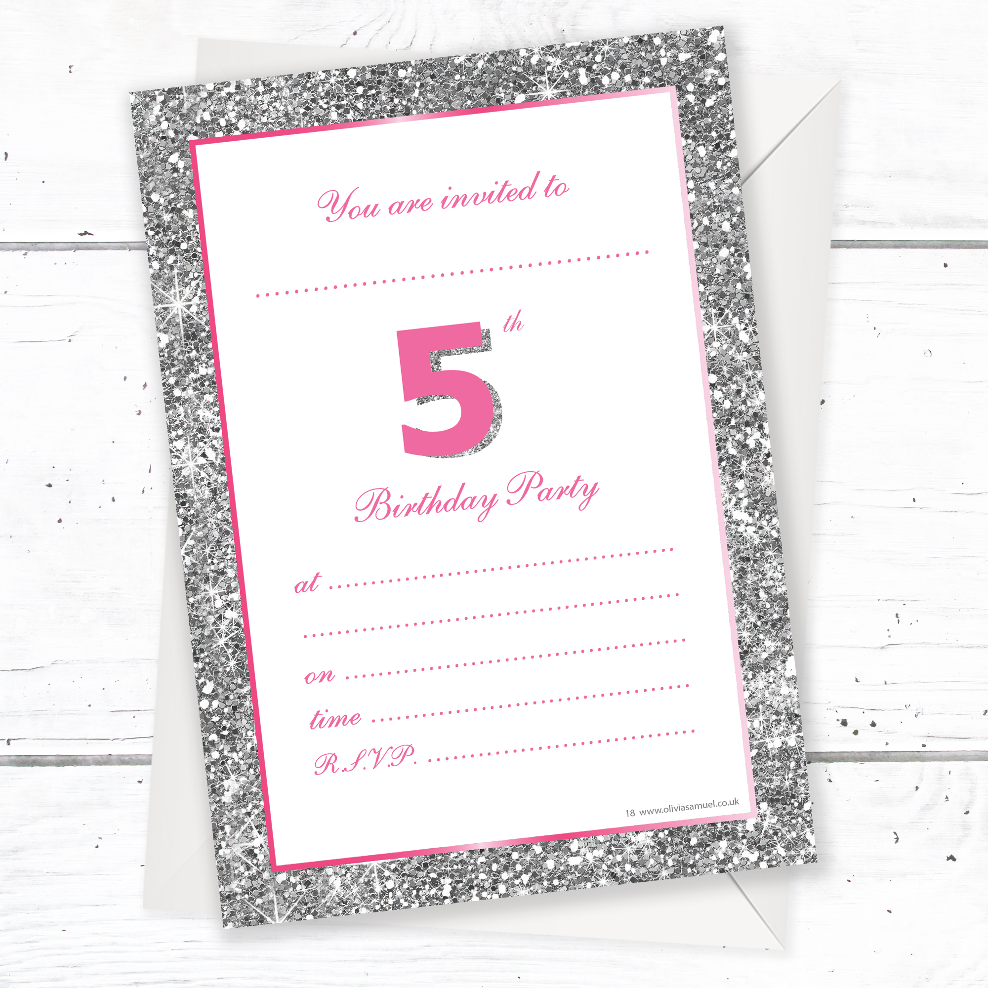 5th Birthday Party Invitations – Pink Sparkly Design and Photo ...