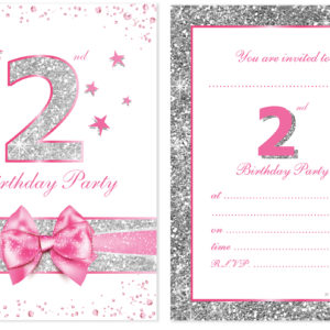 A6 Postcard Size With Envelopes Pink Sparkly Design And Photo Effect Silver Glitter Pack Of 10 Olivia Samuel 2nd Birthday Party Invitations