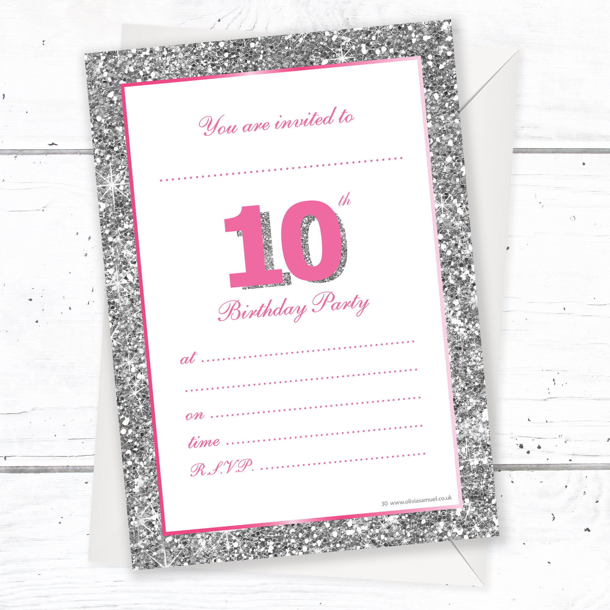 10th Birthday Party Invitations – Pink Sparkly Design and ...