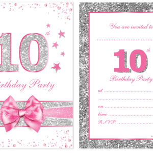10th birthday party invitations pink sparkly design and photo home invitations birthday kids party invitations 10th birthday invitations filmwisefo