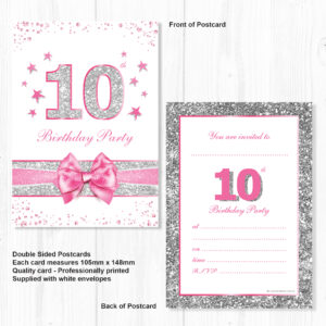 10th Birthday Party Invitations Pink Sparkly Design And Photo Effect Silver Glitter A6 Postcard Size With Envelopes Pack Of 10 Olivia Samuel
