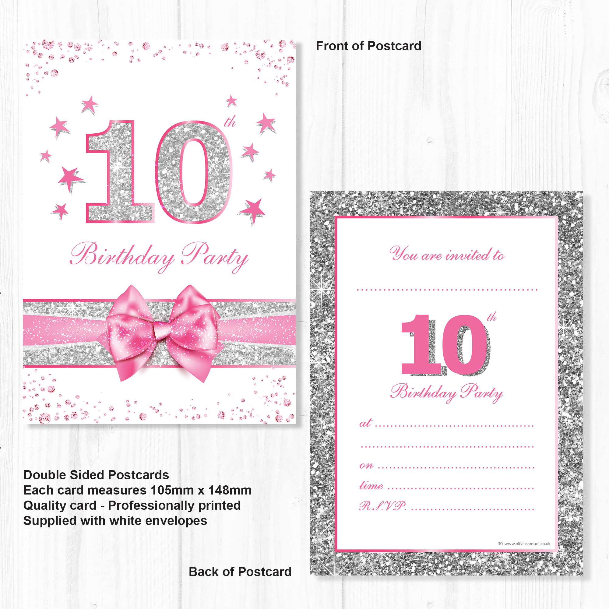 10th Birthday Party Invitations – Pink Sparkly Design and Photo ...