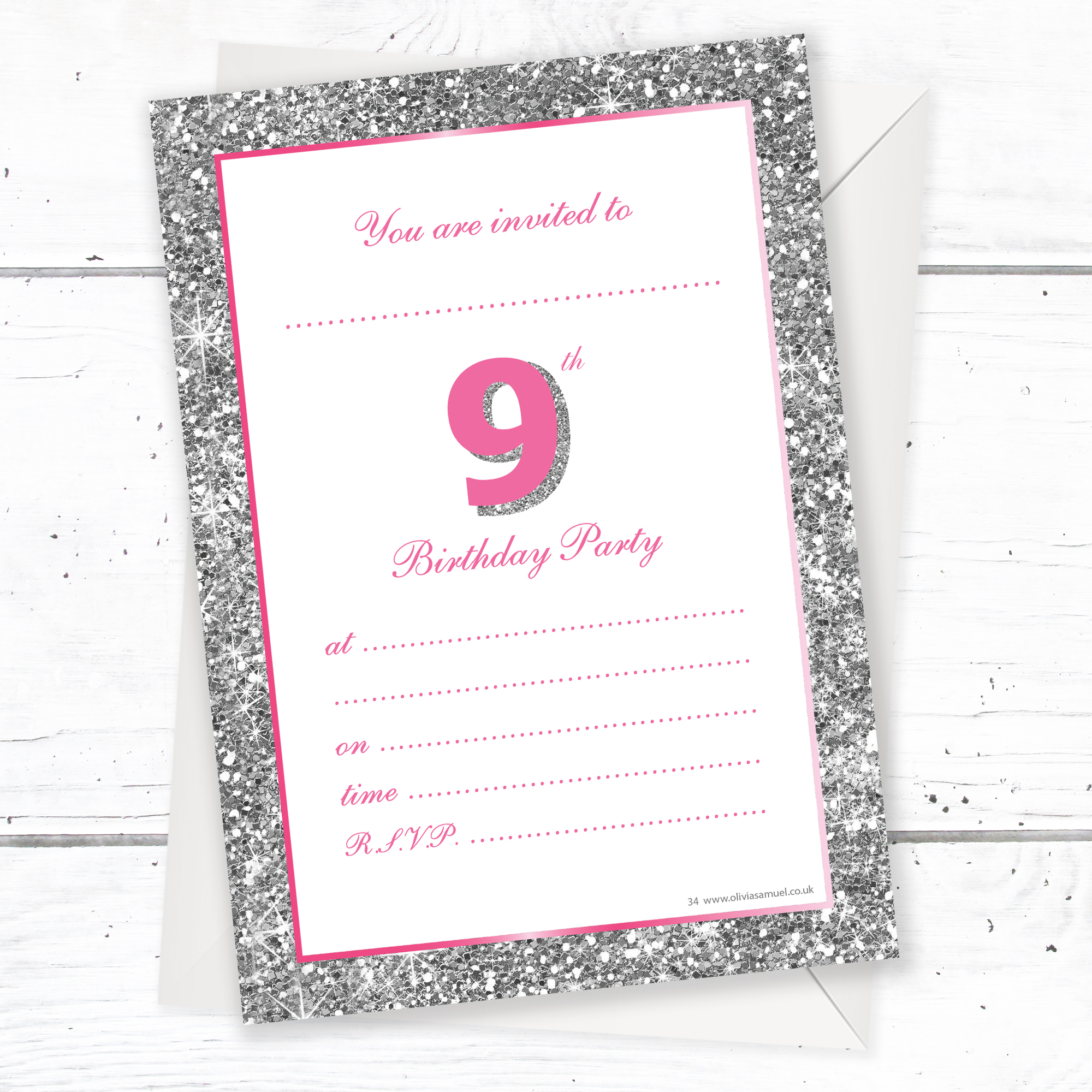 9th Birthday Party Invitations Girl RTW0034 Home Kids