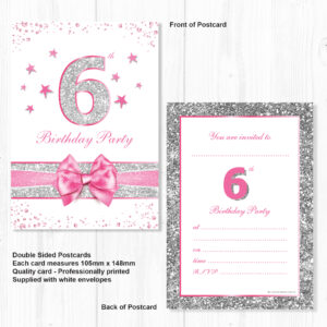 6th Birthday Party Invitations Pink Sparkly Design And Photo Effect Silver Glitter A6 Postcard Size With Envelopes Pack Of 10 Olivia Samuel