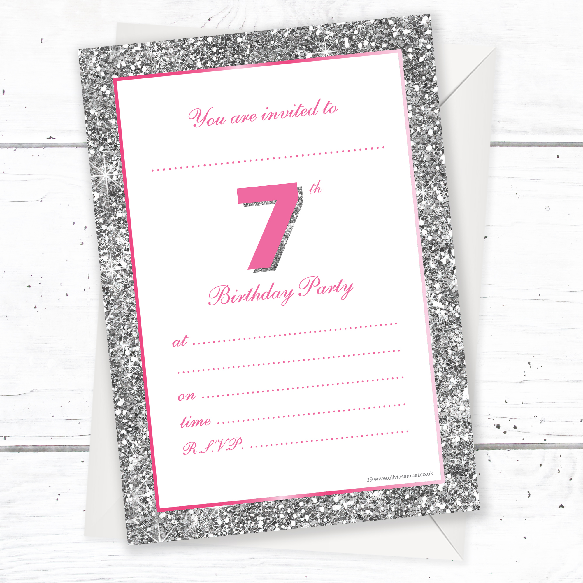 7th Birthday Party Invitations – Pink Sparkly Design and Photo ...