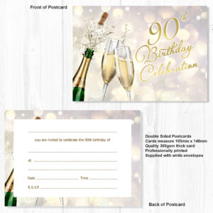 90th Birthday Celebration Invites Champagne Style Ready To Write With Envelopes Pack 10 Olivia Samuel