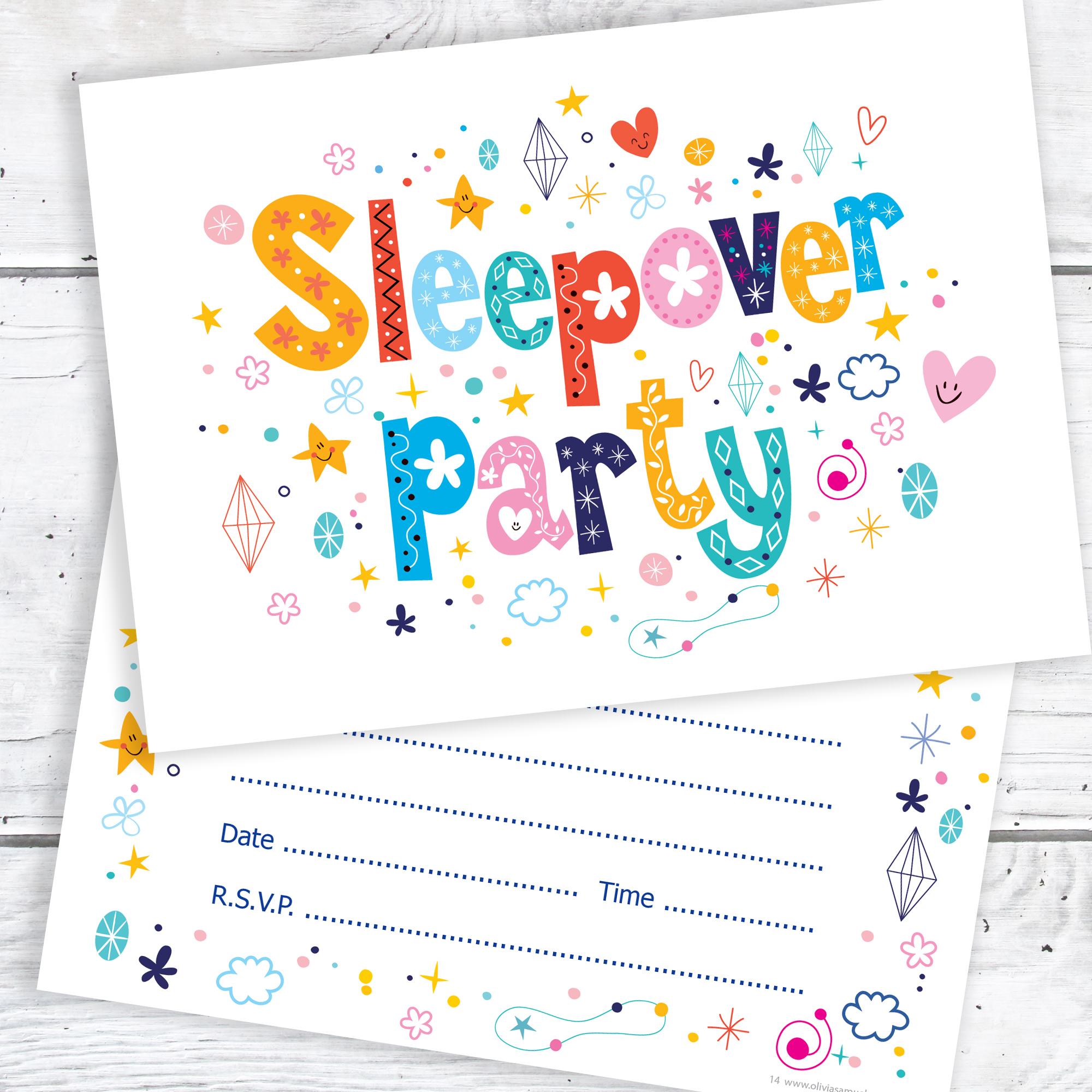 Sleepover Party Birthday Invitations Kids Slumber A6 Postcard Size With Envelopes Pack Of 10