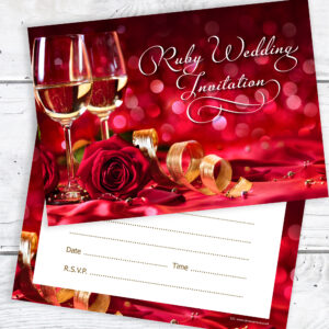 40th Ruby Wedding Anniversary Invitations Pack 10 with Envelopes