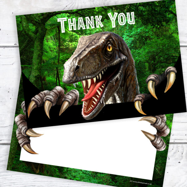 Dinosaur Party Thank You Cards Ready to Write Pack 10 Stage