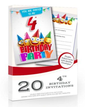 4th Birthday Party Invitations Emoji Style Pack 20