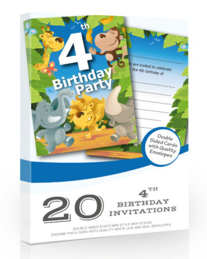 4th Birthday Party Jungle Invitations Pack 20