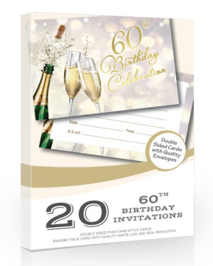60th Birthday Invitations Champagne Style 20 Pack