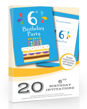 6th Birthday Party Invites Blue Cake Design Pack 20
