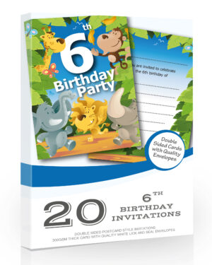 6th Birthday Party Jungle Invitations Pack 20