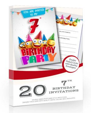 7th Birthday Party Invitations Emoji Style Pack 20