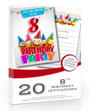 8th Birthday Party Invitations Emoji Style Pack 20