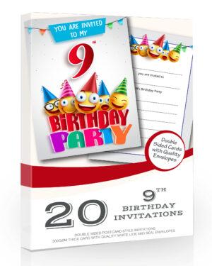 9th Birthday Party Invitations Emoji Style Pack 20