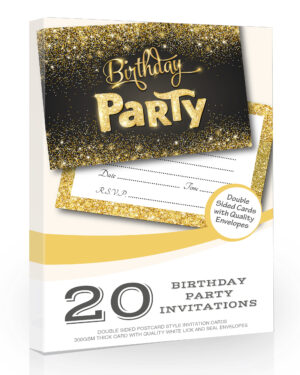 Birthday Party Invitations Black and Gold Style 20 Pack