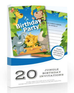 Birthday Party Jungle Invitations Pack 20