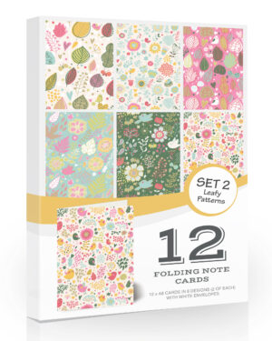 12 x Blank Note Cards & Envelopes by Olivia Samuel. Leafy Pattern Notelets/Greeting Cards with Envelopes.
