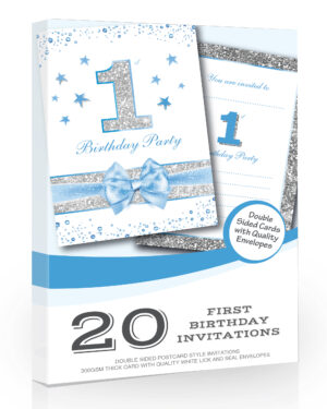Blue Boy First Birthday Party Invitations Pack 20