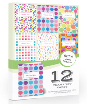 12 x Bright Thank You Cards by Olivia Samuel - Folding Style Multi Pack (Lovely Patterns) with Envelopes