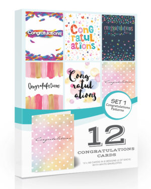 12 x Congratulations Cards by Olivia Samuel - Folding Style Multi Pack with Envelopes